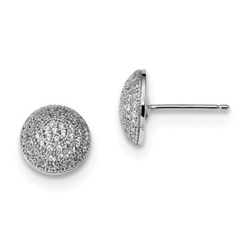 Sterling Silver Brilliant Embers Rhodium-plated CZ Post Earrings