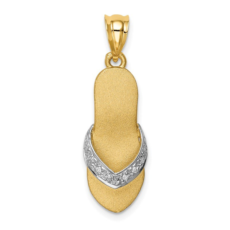 Quality Gold 14K and Rhodium Diamond Sandal Pendant