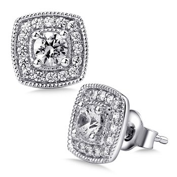 Pave set Diamond Cushion Shaped Halo Earrings, 14k White Gold  (1ct. tw.) HI/I1