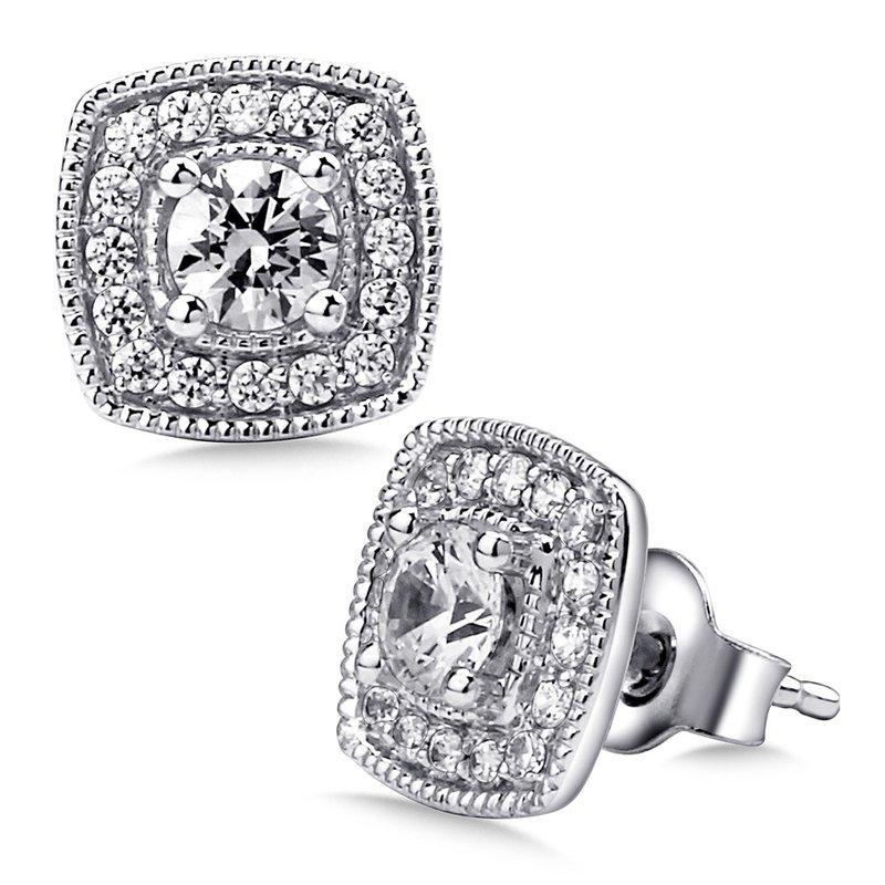ba47a1f26 Stock # EEL2489-W. SDC Creations Pave set Diamond Cushion Shaped Halo  Earrings, 14k White Gold (1ct. SDC Creations Pave set ...