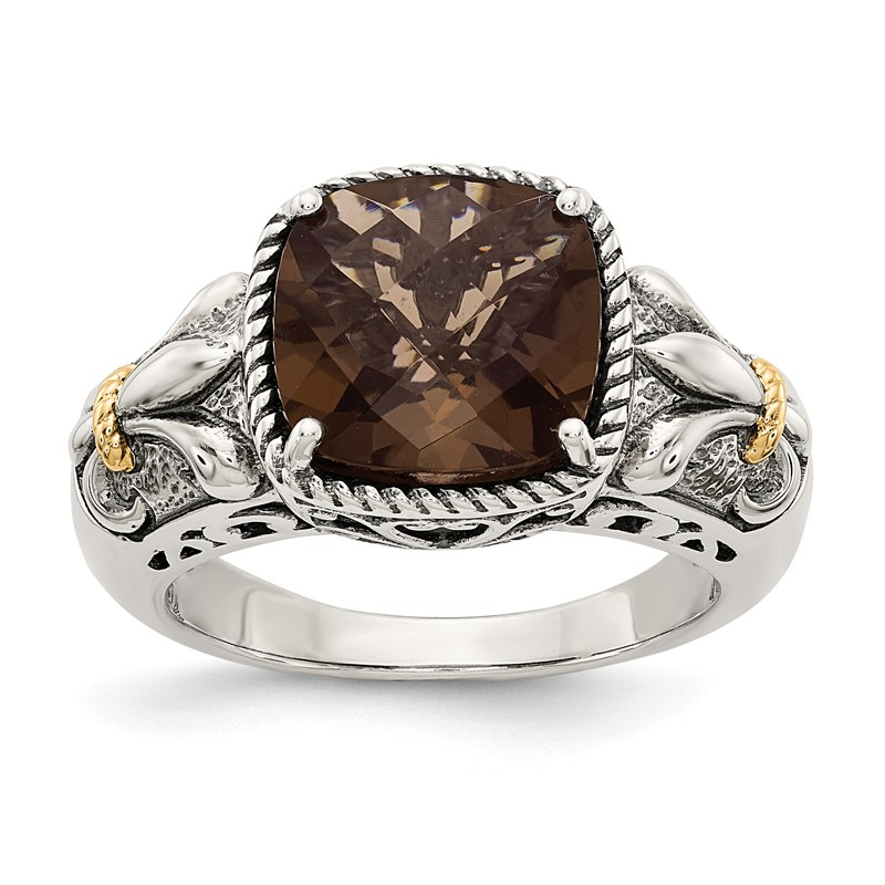 Sterling Silver with 14k Smokey Quartz Ring