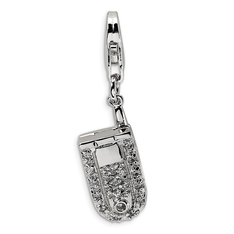 Quality Gold Sterling Silver Flip Cell Phone CZ w/Lobster Clasp Charm
