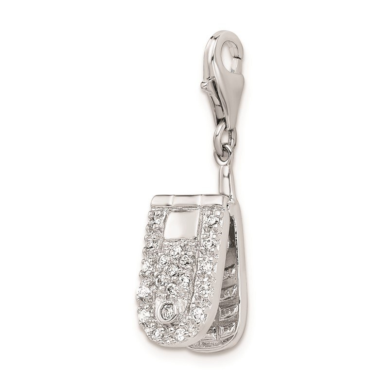 Quality Gold Sterling Silver Amore La Vita Rhodium-plated Flip Cell Phone CZ Charm