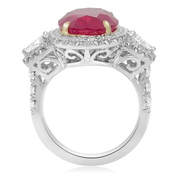 Platinum Ruby & Diamond Single Halo Ring