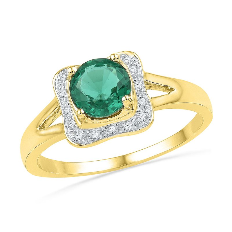 Kingdom Treasures 10kt Yellow Gold Womens Round Lab-Created Emerald Solitaire Diamond Ring 7/8 Cttw