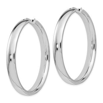 Leslie's Sterling Silver Rhodium-plated 6mm Half Round Tube Earrings