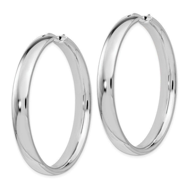 Leslie's Leslie's Sterling Silver Rhodium-plated 6mm Half Round Tube Earrings