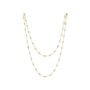 Siviglia Gold & Diamond Pave Small Bead Long Necklace