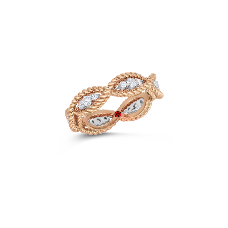 Roberto Coin 1 Row Ring With Diamonds &Ndash; 18K Rose Gold, 6
