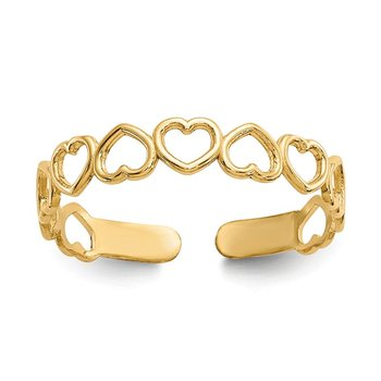 14k Open Hearts Toe Ring