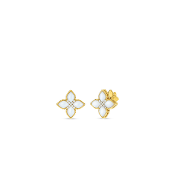 18KT MED MOTHER-OF-PEARL & DIAMOND STUD EARRING