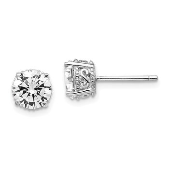 Cheryl M Sterling Silver Rhodium-plated 6.5mm CZ Stud Earrings