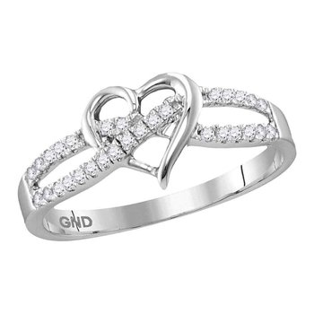 10kt White Gold Womens Round Diamond Woven Heart Love Ring 1/6 Cttw