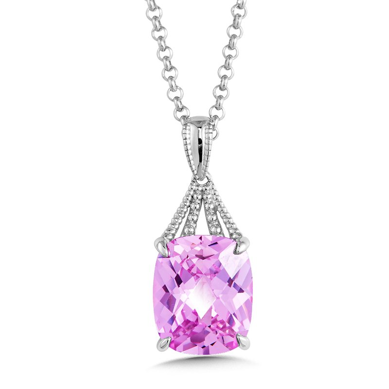 Colore Sg Sterling Silver Pink Sapphire Pendant