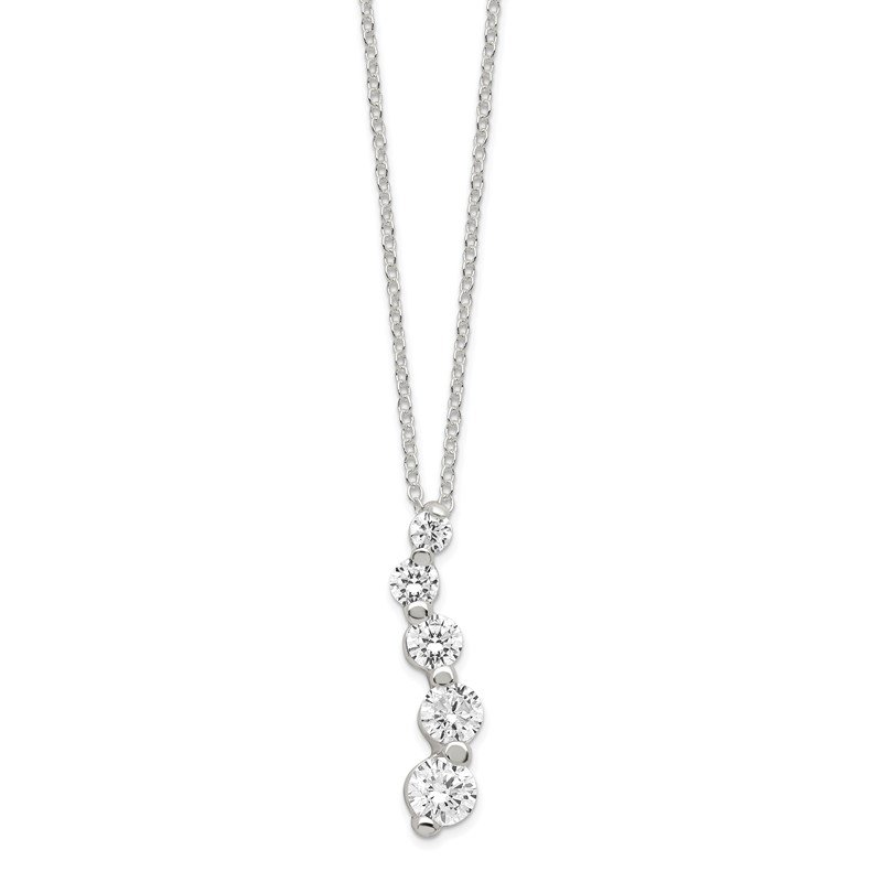Quality Gold Sterling Silver CZ Journey Necklace