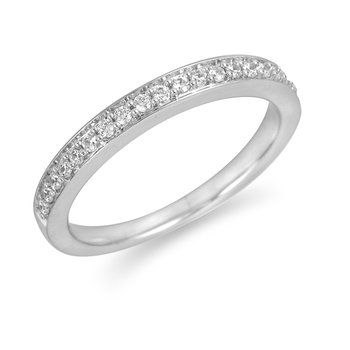 18K WG Diamond Wedding Band in Pave Setting