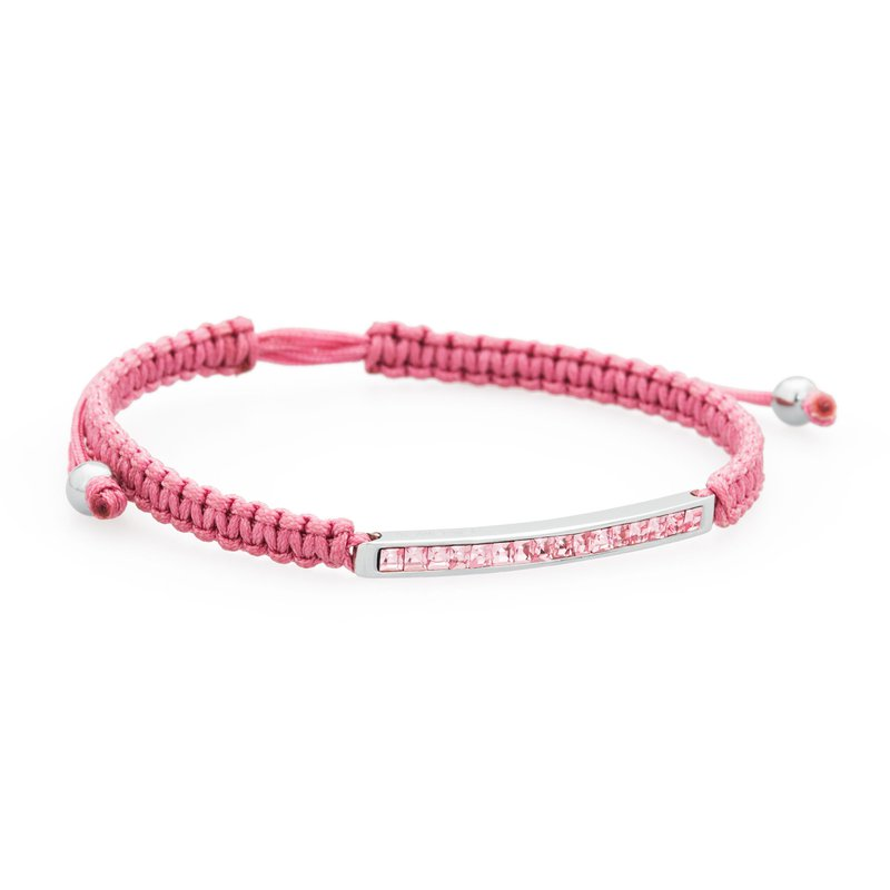 Brosway Bracelet. 316L stainless steel, pink cotton macramé cord and light rose Swarovski® Elements crystals
