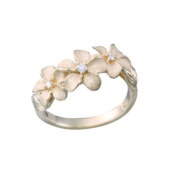 Yellow Gold 3-Plumeria with Lei Ring