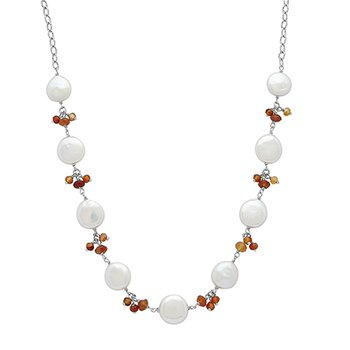 "Honora Sterling Silver 12-14mm White Coin Freshwater Cultured Pearls With Orange Chalcedonyx Cluster 18"" Necklace"