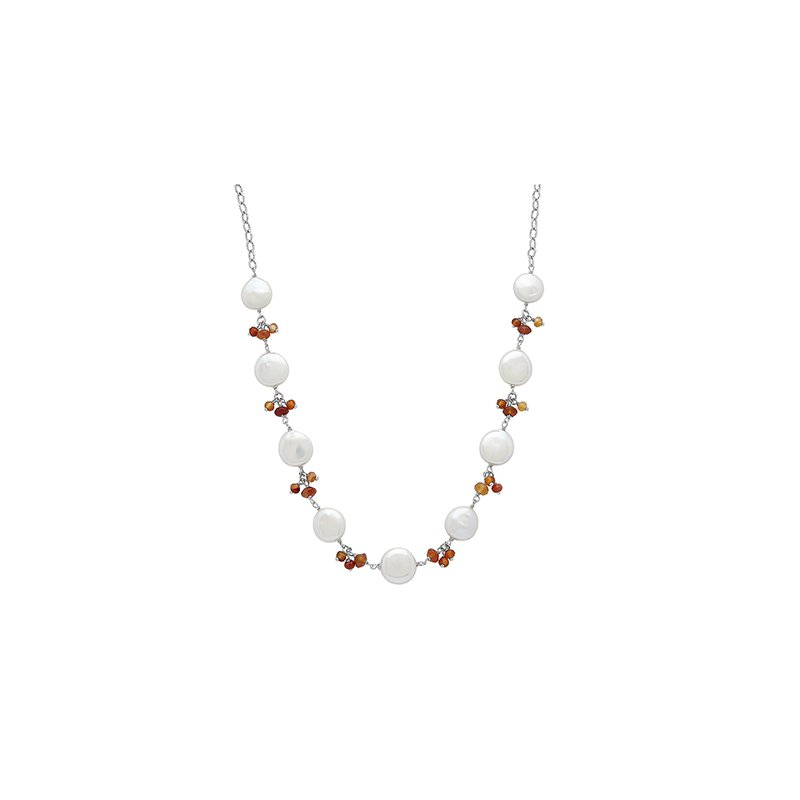 "Honora Honora Sterling Silver 12-14mm White Coin Freshwater Cultured Pearls With Orange Chalcedonyx Cluster 18"" Necklace"