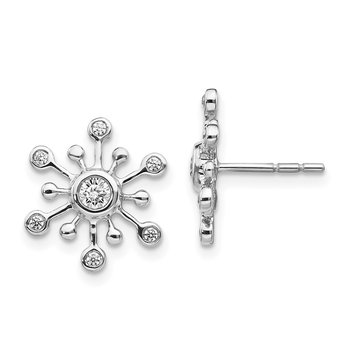 14k White Gold Diamond Snowflake Earrings