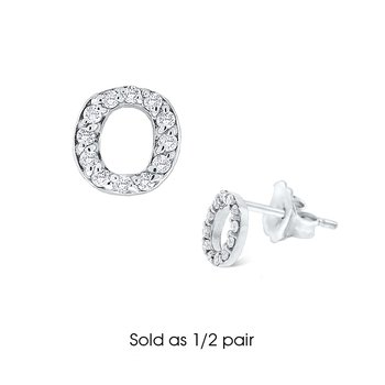 "Diamond Single Initial ""O"" Stud Earring (1/2 pair)"