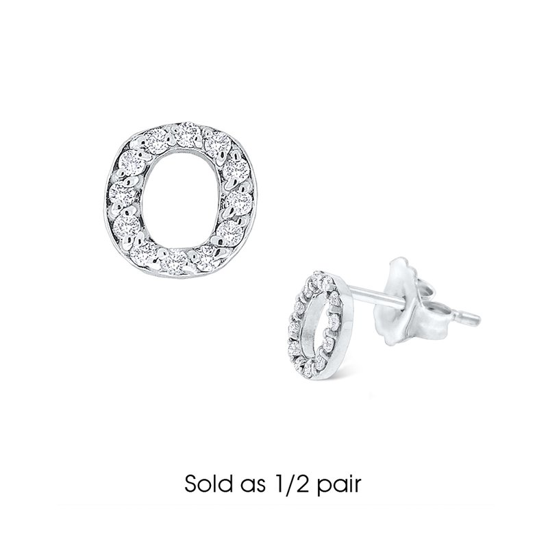 "KC Designs Diamond Single Initial ""O"" Stud Earring (1/2 pair)"