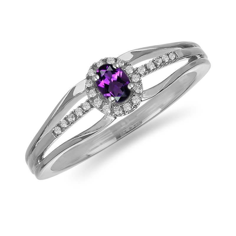 BB Impex 10K WG and diamond and Amethyst halo style birthstone ring