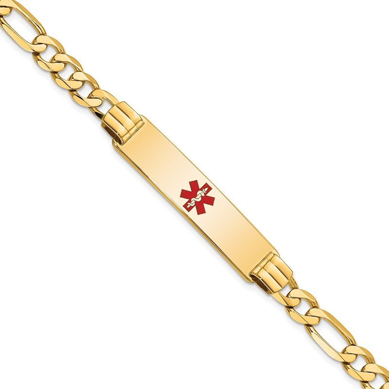 Quality Gold 14K Medical Red Enamel Flat Figaro Link ID Bracelet