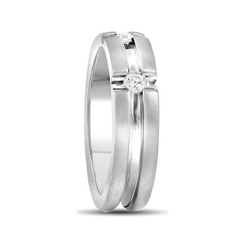 10k White Gold Mens Round Diamond Matte-finish Wedding Anniversary Band Ring 1/4 Cttw