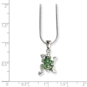 SS Rhodium-Plated CZ Brilliant Embers Frog Necklace