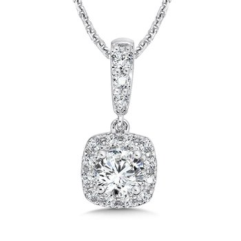 Diamond Cushion Halo Pendant with Diamond Bale in 14K White Gold (1/2 ct. tw.)
