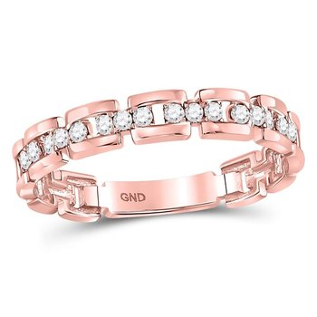 10kt Rose Gold Womens Round Diamond Rolo Link Stackable Band Ring 1/5 Cttw