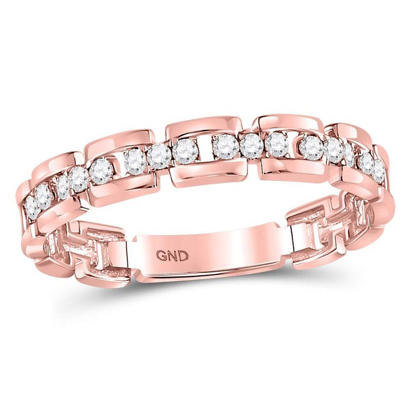 Gold-N-Diamonds 10kt Rose Gold Womens Round Diamond Rolo Link Stackable Band Ring 1/5 Cttw