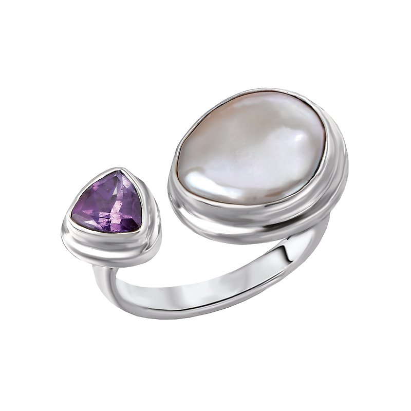 Eleganza Ladies Biwa Pearl Ring