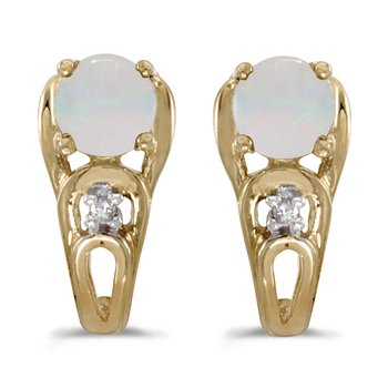 10k Yellow Gold Round Opal And Diamond Earrings