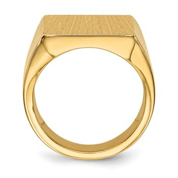 14k 17.5x16.5mm Closed Back Mens Signet Ring