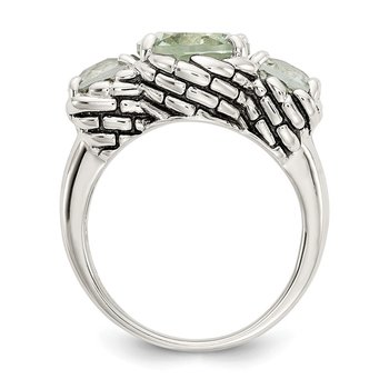 Sterling Silver Green Quartz Ring