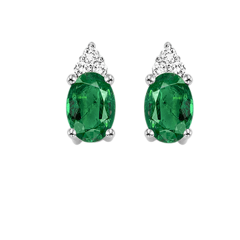 10K White Gold Color Ensembles Prong Emerald Earrings 1/25CT