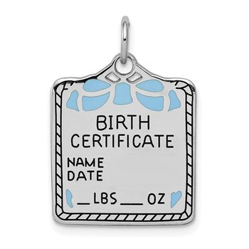 SS Rh-plt Blue Birth Certificate Polished Front/Satin Back Charm