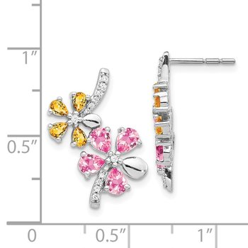 14k White Gold Diamond/Citrine/Pink Tourmaline Flower Earrings