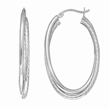 Silver Oval Double Twist Hoop Earring