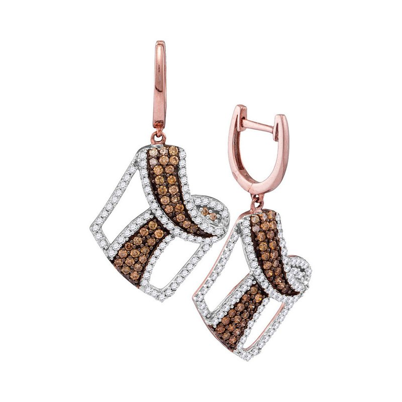 Gold-N-Diamonds, Inc. (Atlanta) 10kt Rose Gold Womens Round Cognac-brown Color Enhanced Diamond Dangle Earrings 1-3/4 Cttw
