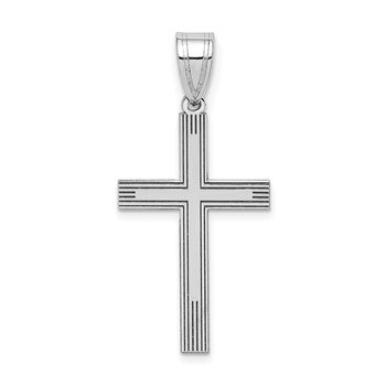 14k White Laser Etched Cross Charm