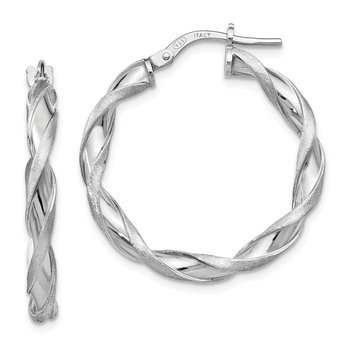Leslie's Sterling Silver Polished and Scratch-finish Twisted Hoop Earrings