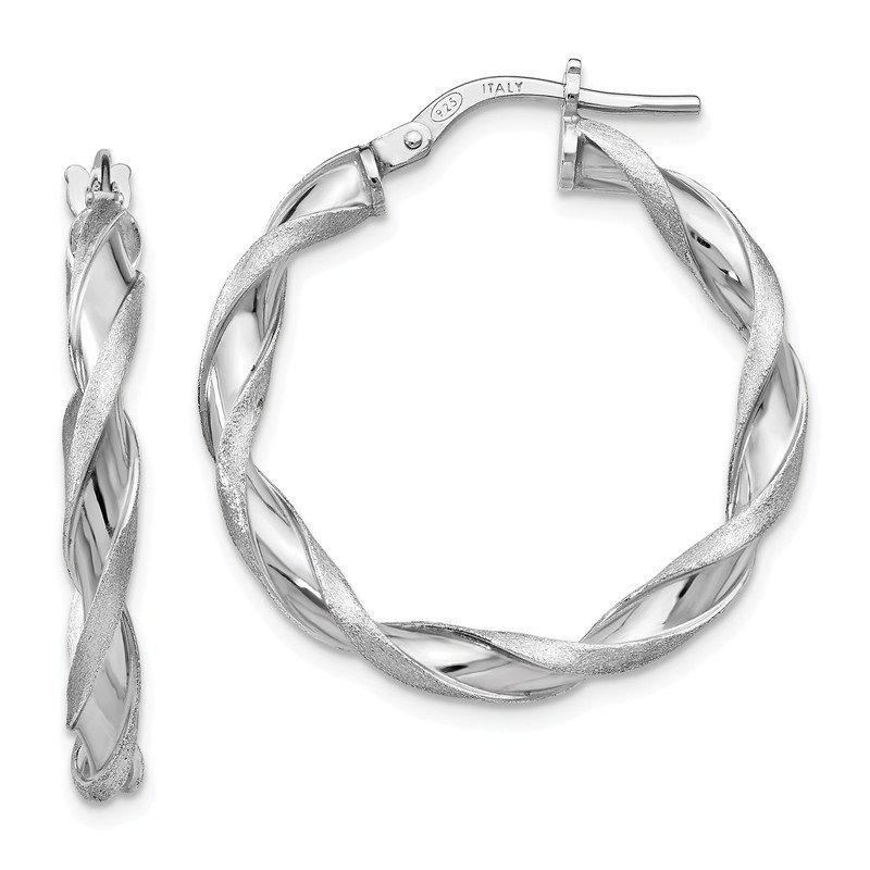 Leslie's Leslie's Sterling Silver Polished and Scratch-finish Twisted Hoop Earrings