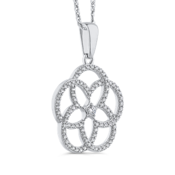 7/8 ct White Diamond Gold Fashion Flower Pendant with Chain