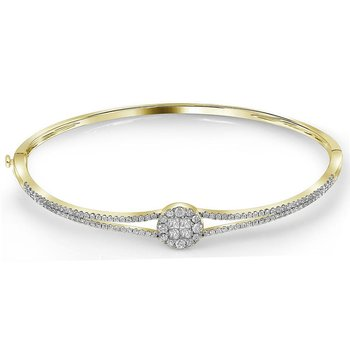 14kt Yellow Gold Womens Princess Round Diamond Soleil Bangle Bracelet 1.00 Cttw