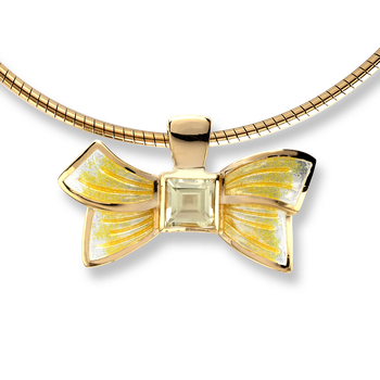 Gold Plated Sterling Silver Bow Necklace-Yellow, Lemon Quartz