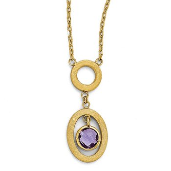 Leslie's 14k Polished and Scratch Finish Amethyst Oval Dangle Necklace